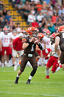 KELOWNA, BC - AUGUST 17: Alex Douglas #1 of Okanagan Sun looks for the pass against the Westshore Rebels  at the Apple Bowl on August 17, 2019 in Kelowna, Canada. (Photo by Marissa Baecker/Shoot the Breeze)