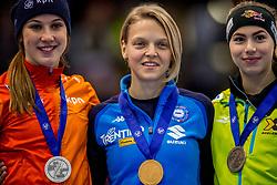 14-01-2018 DUI: ISU European Short Track Championships 2018 day 3, Dresden<br /> Suzanne Schulting NED #7, Arianna Fontana ITA # 9, Anna Seidel GER #17