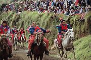 Patron saint festival horse race at Todos Santo de Cuchumatan, Guatemala.