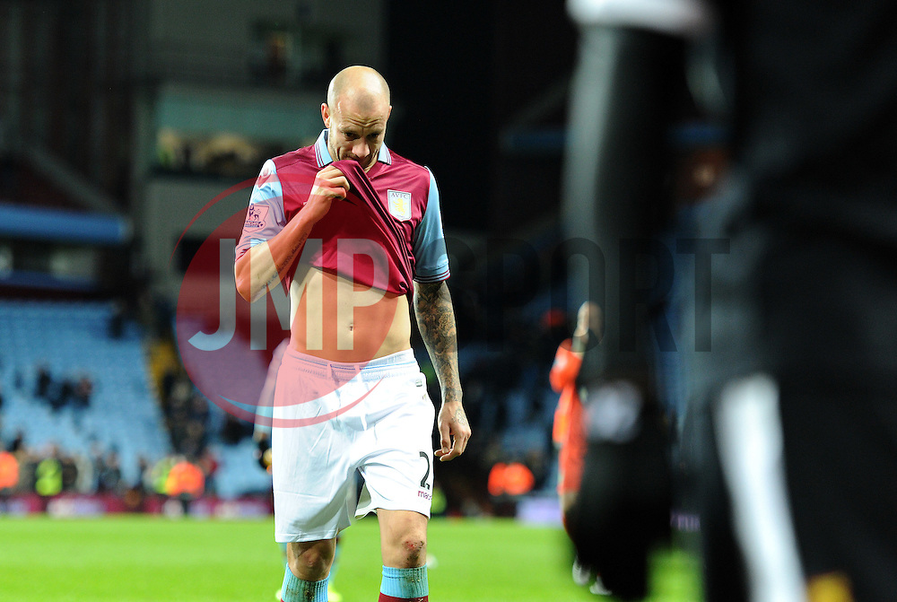 Alan Hutton of Aston Villa looks dejected at full time.<br />  - Mandatory byline: Alex James/JMP - 28/11/2015 - Football- Aston Villa  - Birmingham, Watford  - Aston Villa v Watford - Barclays Premiership