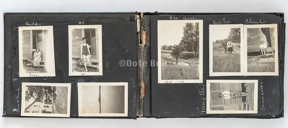 photo album of a young adult girl summer vacation USA ca 1930s