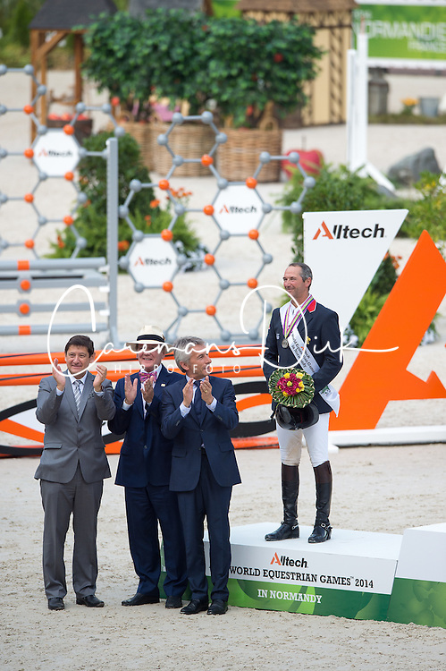 Podium - Show Jumping Final Four - Alltech FEI World Equestrian Games™ 2014 - Normandy, France.<br /> © Hippo Foto Team - Jon Stroud<br /> 07/09/2014