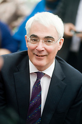 British Chancellor Alistair Darling and Prime Minister Gordon Brown paid a flying visit to Sheffield. After getting off a train at Sheffield Railway Station surrounded by photographers he made his way to the station coffee shop  where he met the local Labour Party faithful and spent time Speaking with journalists before climbing into a grey Jaguar to carry on campaigning  for re-election. Wednesday 13 April 2010. .Images © Paul David Drabble
