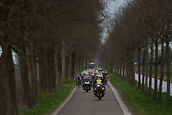 The peloton starts the chase in the third lap of Stage 3 of the Healthy Ageing Tour - a 154.4 km road race, between  Musselkanaal and Stadskanaal on April 7, 2017, in Groeningen, Netherlands.