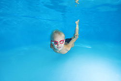 September 18, 2016 - Odessa, Ukraine - 5 years boy in a swimming goggles learning to swim underwater in the pool (Credit Image: © Andrey Nekrasov/ZUMA Wire/ZUMAPRESS.com)