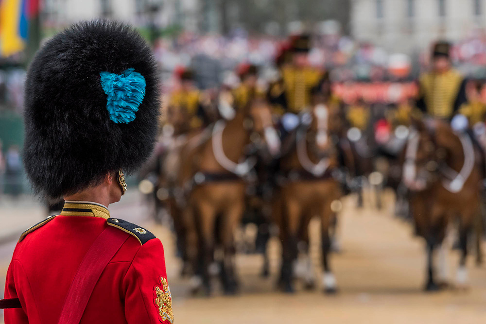 Kings Troop Royal Horse Artillery leave Horse Guards - Colonel's Review 2018, the last formal inspection of the Household Division before The Queen's Birthday Parade, more popularly known as Trooping the Colour. The Coldstream Guards Troop Their Colour and their Regimental Colonel, Lieutenant General Sir James Jeffrey Corfield Bucknall, takes the salute.
