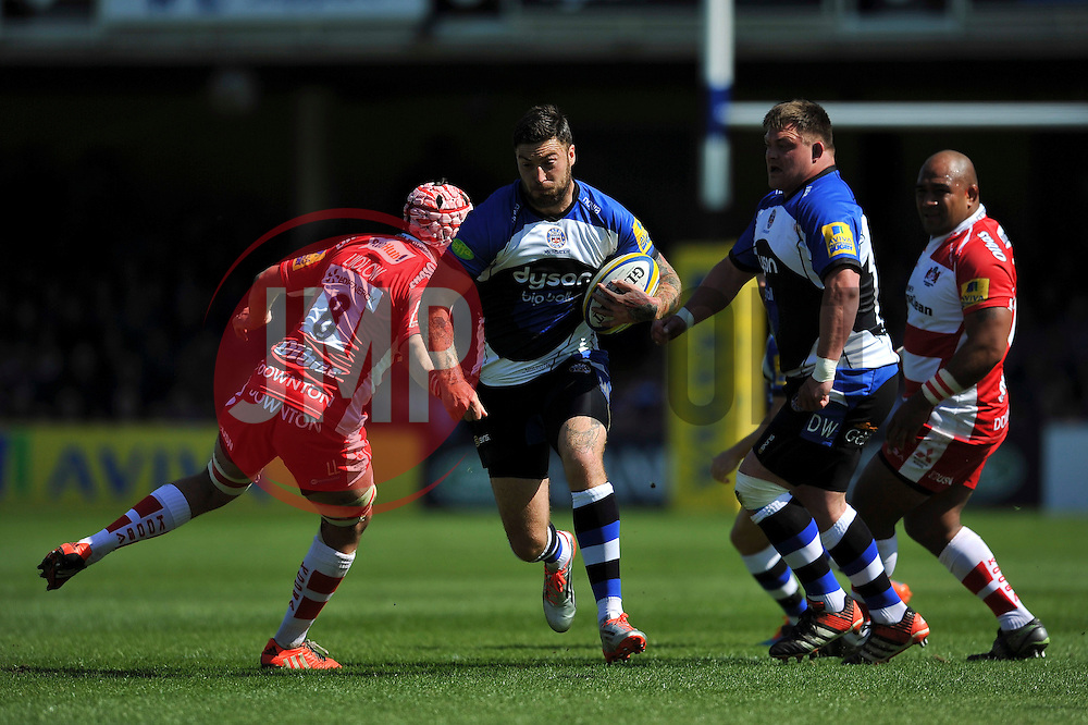Matt Banahan of Bath Rugby takes on the Gloucester defence - Photo mandatory by-line: Patrick Khachfe/JMP - Mobile: 07966 386802 16/05/2015 - SPORT - RUGBY UNION - Bath - The Recreation Ground - Bath Rugby v Gloucester Rugby - Aviva Premiership