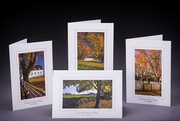 This special collection of Shaker greeting cards makes a nice gift for anyone who has a fondness for the village and also enjoys Shaker recipes.  Set includes 2 each of 4 designs, 8 cards total.<br /> <br /> Artemis Photo Greeting Cards featuring NH native flora and fauna and historic sites. The cards are made exclusively in NH made from 100% FSC recycled paper, manufactured with wind and water power, and are archival acid free paper. Each card includes details on the back about the image, including interesting anecdotes, historic facts, conservation status, and recipes.
