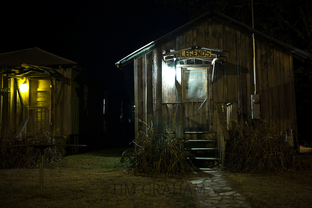 Guest cabin hotel room at The Shack Up Inn cotton pickers themed hotel in Clarksdale, birthplace of the Blues, Mississippi, USA