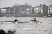 Putney, GREAT BRITAIN,  Looks, [right] Stroke Silas STAFFORD struggles to get his oar back into the gate, as the crews clash, during the 2008 Varsity/Cambridge University Trial Eights, raced over the championship course. Putney to Mortlake, Tue. 16.12.2008. [Mandatory Credit, Peter Spurrier/Intersport-images..Crew Personality; Bow Dan SHAUGHNESSY, 2. Shane O'MARA, 3. John CLAY, 4. Ryan MONAGHAN, 5. Fred GILL, 6. Deaglan McEACHERN, 7. Hardy CUTBASCH, stroke,. Rob WEITEMAYER and cox Rebecca DOWBIGGIN...Crew Looks; Bow James STRAWSON. 2. Joel JENNINGS, 3. Code STERNAL, 4 Peter MARSLAND, 5. George NASH, 6. Henry PELLY, 7. Tom RANSLEY, stroke Silas STAFFORD and Cox Helen HODGES.. Varsity Boat Race, Rowing Course: River Thames, Championship course, Putney to Mortlake 4.25 Miles,