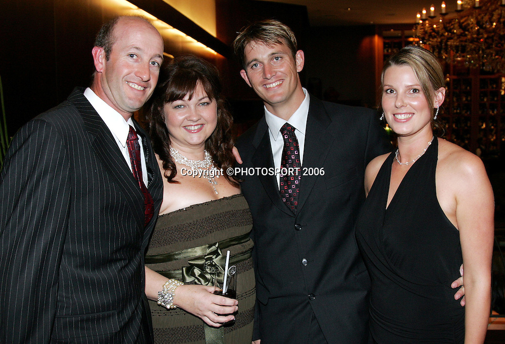 Chris and Linda Harris with Shane and Tracey Bond at the New Zealand Cricket Awards held at Langham Hotel, Auckland, on Thursday 30 March, 2006. Photo: Andrew Cornaga/PHOTOSPORT