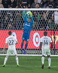 November 1, 2018 - Los Angeles, California, U.S - Goalie, Alex Horwath #1 of the Real Salt Lake catches the ball to win their MLS playoff game against the LAFC on Thursday November 1, 2018 at Banc of California Stadium in Los Angeles, California. LAFC lost to Real Salt Lake, 3-2. (Credit Image: © Prensa Internacional via ZUMA Wire)