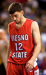 February 27, 2010; San Jose, CA, USA;  Fresno State Bulldogs guard Steven Shepp (12) reacts to a play during the first half against the San Jose State Spartans at The Event Center.  San Jose State defeated Fresno State 72-45.