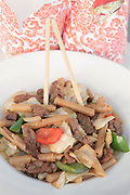 A plate of Chinese style stir fried beef with bamboo shoots