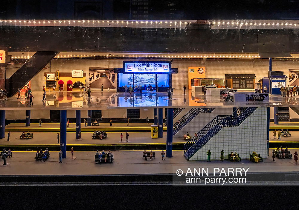 Farmingdale, New York, USA. January 21, 2018. Long Island Rail Road LIRR Waiting Room area is part of Penn Station layout at Train Masters of Babylon during their TMB Model Train Club Open House at their Headquarters.