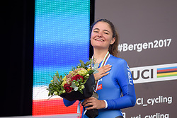 Second place for Alessia Vigilia at UCI Road World Championships Junior Women's Individual Time Trial 2017 a 16.1 km time trial in Bergen, Norway on September 18, 2017. (Photo by Sean Robinson/Velofocus)