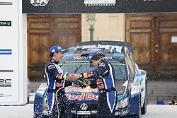 15.02.2015,  Karlstad, SWE, FIA, WRC, Schweden Rallye, im Bild Sebastien Ogier/Julien Ingrassia (Volkswagen Motorsport/Polo R WRC) // during the WRC Sweden Rallye at the Karlstad in Karlstad, Sweden on 2015/02/15. EXPA Pictures &copy; 2015, PhotoCredit: EXPA/ Eibner-Pressefoto/ Bermel<br /> <br /> *****ATTENTION - OUT of GER*****