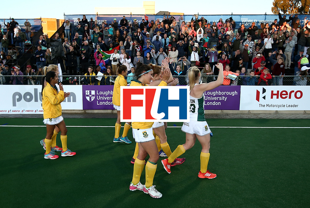 JOHANNESBURG, SOUTH AFRICA - JULY 16:  South Africa players celebrate victory with their fans during day 5 of the FIH Hockey World League Women's Semi Finals Pool B match between South Africa and United States of America at Wits University on July 16, 2017 in Johannesburg, South Africa.  (Photo by Jan Kruger/Getty Images for FIH)