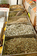 Israel, Tel Aviv, Lewinski market, Bags of spices and herbs awaiting clients at the spice market