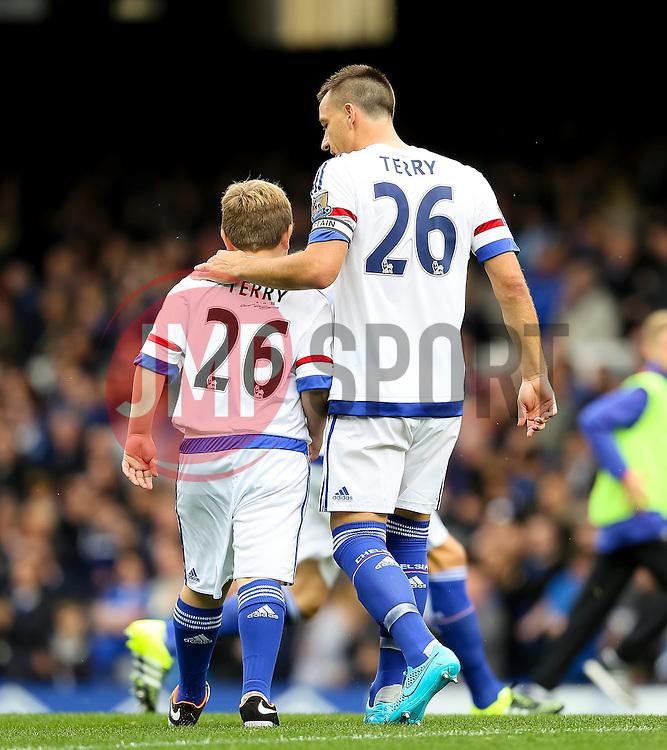 Chelsea Captain, John Terry puts his arm around the Chelsea mascot wearing a Terry 26 shirt  - Mandatory byline: Matt McNulty/JMP - 07966386802 - 12/09/2015 - FOOTBALL - Goodison Park -Everton,England - Everton v Chelsea - Barclays Premier League