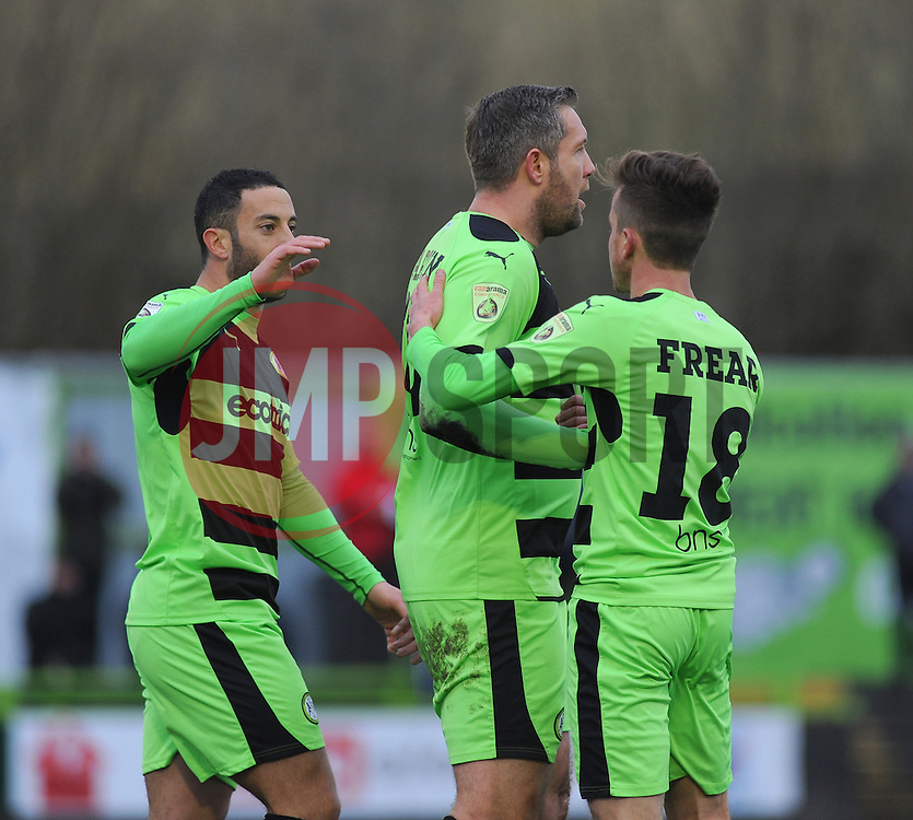 Forest Green Rovers's Jonathan Parkin celebrates with team mates - Photo mandatory by-line: Nizaam Jones/JMP - Mobile: 07966 386802 - 31/01/2015 - SPORT - Football - Nailsworth - The New Lawn - Forest Green Rovers v Nuneaton Town - Vanarama-Conference