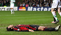 Photo: Paul Thomas.<br /> Glasgow Celtic v AC Milan. UEFA Champions League. Last 16, 1st Leg. 20/02/2007.<br /> <br /> Alberto Gilaedino of Milan shows his frustration at missing a goal chance.