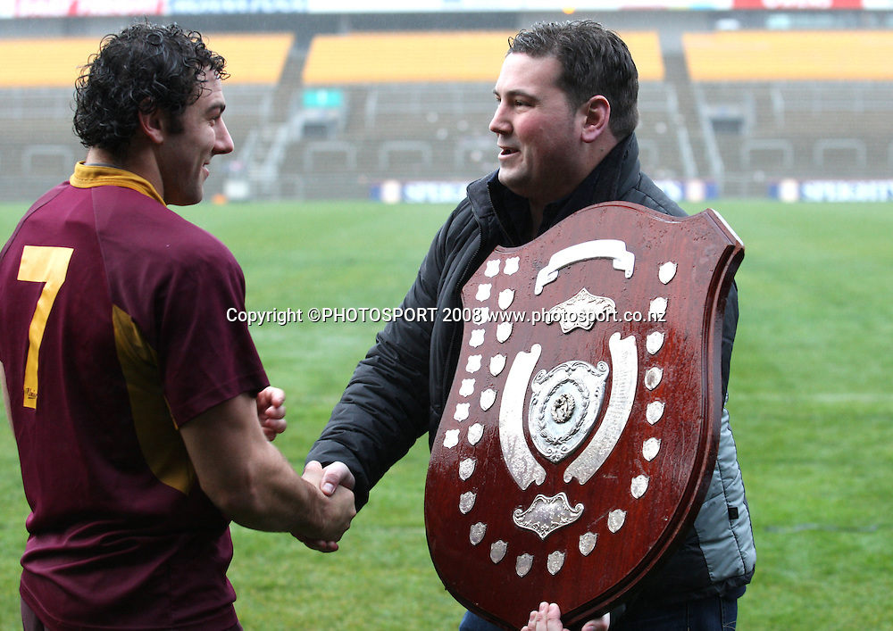 Alhambra-Union captain Matthew Clutterbuck receives the Speight's Championship Shield.<br /> Alhambra-Union v Dunedin. Club Rugby. Carisbrook, Dunedin. Saturday 26 July 2008. Photo: Rob Jefferies/PHOTOSPORT