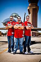 Heath Bell, Brad Ziegler and Josh Collmenter pose for a portrait at Luke AFB in Litchfield Park, Arizona on April 29, 2013.  (Photo by Jonathan Willey/Arizona Diamondbacks)
