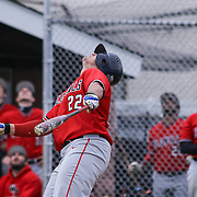 William Penn Infielder Brandon Dooley (22) pop the ball into the air during of a varsity scheduled game between the Colonials of William Penn and The St. Elizabeth Vikings Saturday, April 25, 2015, at William Penn High School baseball field in New Castle Delaware.<br /> <br /> William Penn defeats St. Elizabeth 6-5