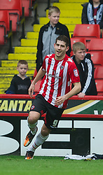 SHEFFIELD, ENGLAND - Saturday, March 17, 2012: Sheffield United's Ched Evans celebrates scoring the first goal against Tranmere Rovers during the Football League One match at Bramall Lane. (Pic by David Rawcliffe/Propaganda)