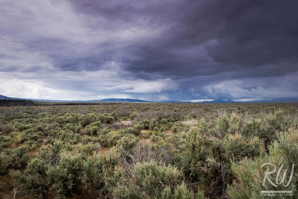 High Desert near Taos with Sangre de Cristo Mountains in Distance, New Mexico