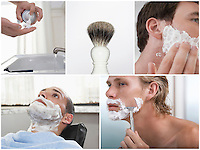 Collage of young men shaving