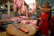 Alex Moratillo is a meat vendor at the local market in Paranaque, Philippines. ..Photo by Jason Doiy.6-16-08