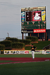26 July 2014:  The outfield corn is in full silk and tassel in front of the CornCrib's scoreboard during a Frontier League Baseball game between the Lake Erie Crushers and the Normal CornBelters at Corn Crib Stadium on the campus of Heartland Community College in Normal Illinois