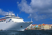 Cruise ship Costa Romantica and Punda waterfront; Willemstad, Curacao, Netherlands Antilles.