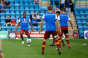 Bradford City FC players warm up before kick off during the EFL Sky Bet League 1 match between Gillingham and Bradford City at the MEMS Priestfield Stadium, Gillingham, England on 12 August 2017. Photo by Andy Walter.
