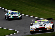 Macmillan AMR Aston Martin Vantage GT3 with drivers Jack Mitchell & James Littlejohn leads Team Parker Racing Bentley Continental GT3 with drivers Rick Parfitt & Seb Morris during the British GT Championship Round 9 at  Brands Hatch England on 6 August 2017. Photo by Jurek Biegus.
