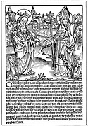 St Dionysius (Denis) praying to the Virgin and Child for help to overcome the curse of Syphilis. Early woodcut from flysheet published Regensberg. German publication refers to it as the 'French' disease. Italian-born patron saint of Paris and its first bishop, beheaded under Roman emperor Valerian, customarily shown carrying his head. Behind him is Montmartre, the hill on which he and his two deacons were martyred.