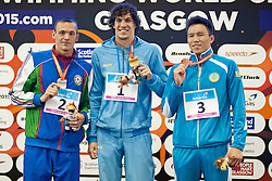 FEDYNA Oleksii, SALEI Dzmitry, AKHMETOV Anuar UKR, AZE, KAZ at 2015 IPC Swimming World Championships -  Men's 100m Breaststroke SB12