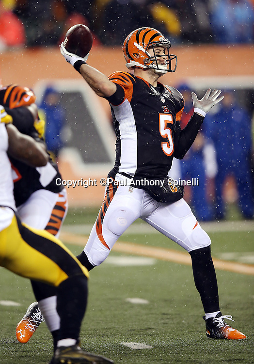 Cincinnati Bengals quarterback AJ McCarron (5) throws a pass during the NFL AFC Wild Card playoff football game against the Pittsburgh Steelers on Saturday, Jan. 9, 2016 in Cincinnati. The Steelers won the game 18-16. (©Paul Anthony Spinelli)