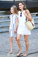 Queen Letizia of Spain, Princess Sofia visit the Miro exhibition at Can Prunera museum in Soller on August 6, 2017 in Balearic Island, Spain
