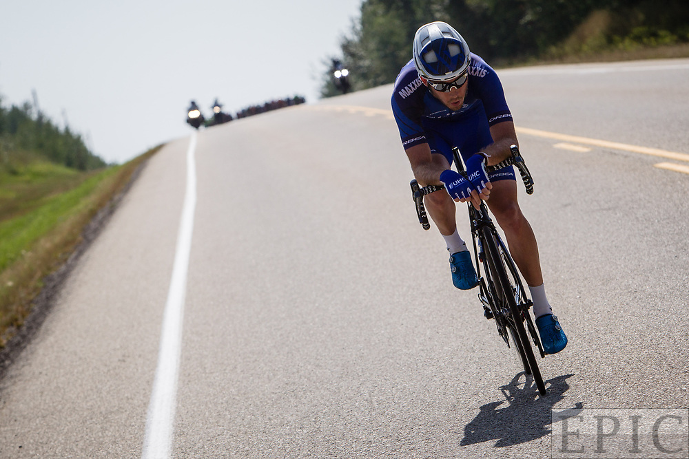 SPRUCE GROVE, ALBERTA, CAN - September 2: Daniel Eaton (UnitedHealthcare Pro Cycling) tries to get away by himself during stage 2 of the Tour of Alberta on September 2, 2017 in Spruce Grove, Canada. (Photo by Jonathan Devich)