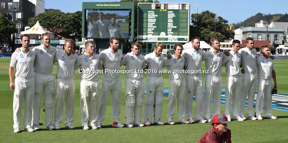 Players line up for the national anthems. New Zealand Black Caps v Australia. Day 1, 1st test match, Basin Reserve, Wellington, New Zealand. Friday 12 February 2016. Copyright photo: Andrew Cornaga / www.photosport.nz