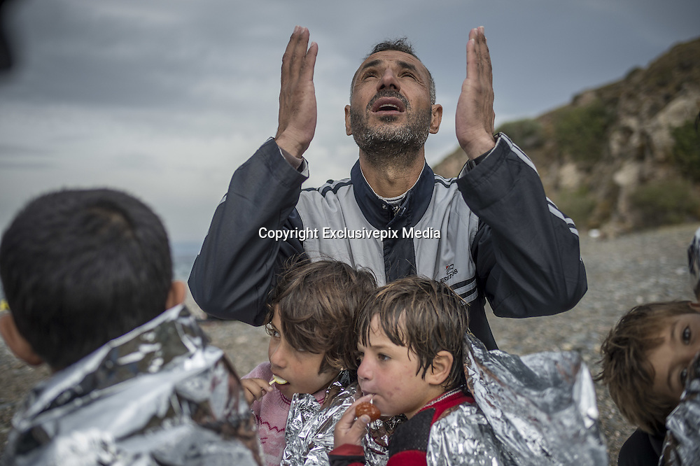 Oct. 11, 2015 - Lesbos Island, Greece - <br /> <br /> Refugees in Lesbos<br /> <br /> Refugees and Migrants arrive on the Greek Island of Lesbos after crossing the Aegean sea from Turkey. <br /> ©Exclusivepix Media