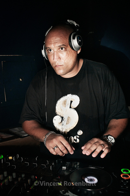 DJ Edgar, a producer of Funk carioca and drum & bass, one of the most famous DJs in Brazil. He tours mainly now on international. Here at the alternative club Fosfobox, in Copacabana..