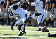 November 10 2012: Purdue Boilermakers running back Akeem Hunt (11) fumbles the ball during the NCAA football game between the Purdue Boilermakers and the Iowa Hawkeyes at Kinnick Stadium in Iowa City, Iowa on Saturday, November 10, 2012. Purdue defeated Iowa 27-24.