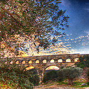 Looking under the olive tree at the sunset behind the largest free-standing Roman ruin outside of Italy - the Pont du Gard aqueduct
