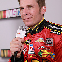 Driver Jamie McMurray speaks with the media during the NASCAR Media Day event at Daytona International Speedway on Thursday, February 14, 2013 in Daytona Beach, Florida.  (AP Photo/Alex Menendez)