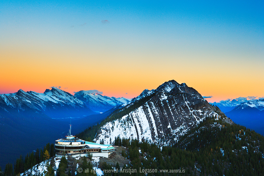 Overlook over Banff National park and its mountains from top of Sulphur Mountain