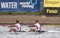 Belgium's Ruben Claeys and Pierre De Loof at the finish of the Men's Double Sculls B Final during day four of the 2018 European Championships at Strathclyde Country Park, North Lanarkshire.